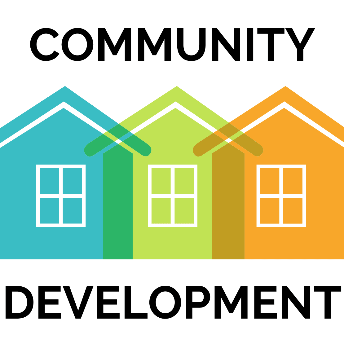Community Development logo with 3 simple houses, colored blue, green and orange.