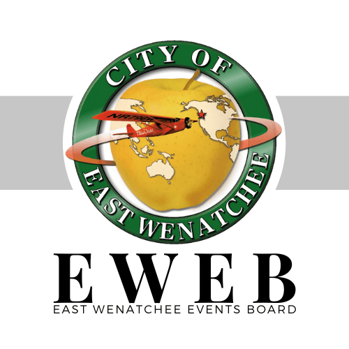 East Wenatchee Events Board written underneath the City's logo, with a yellow line behind the log