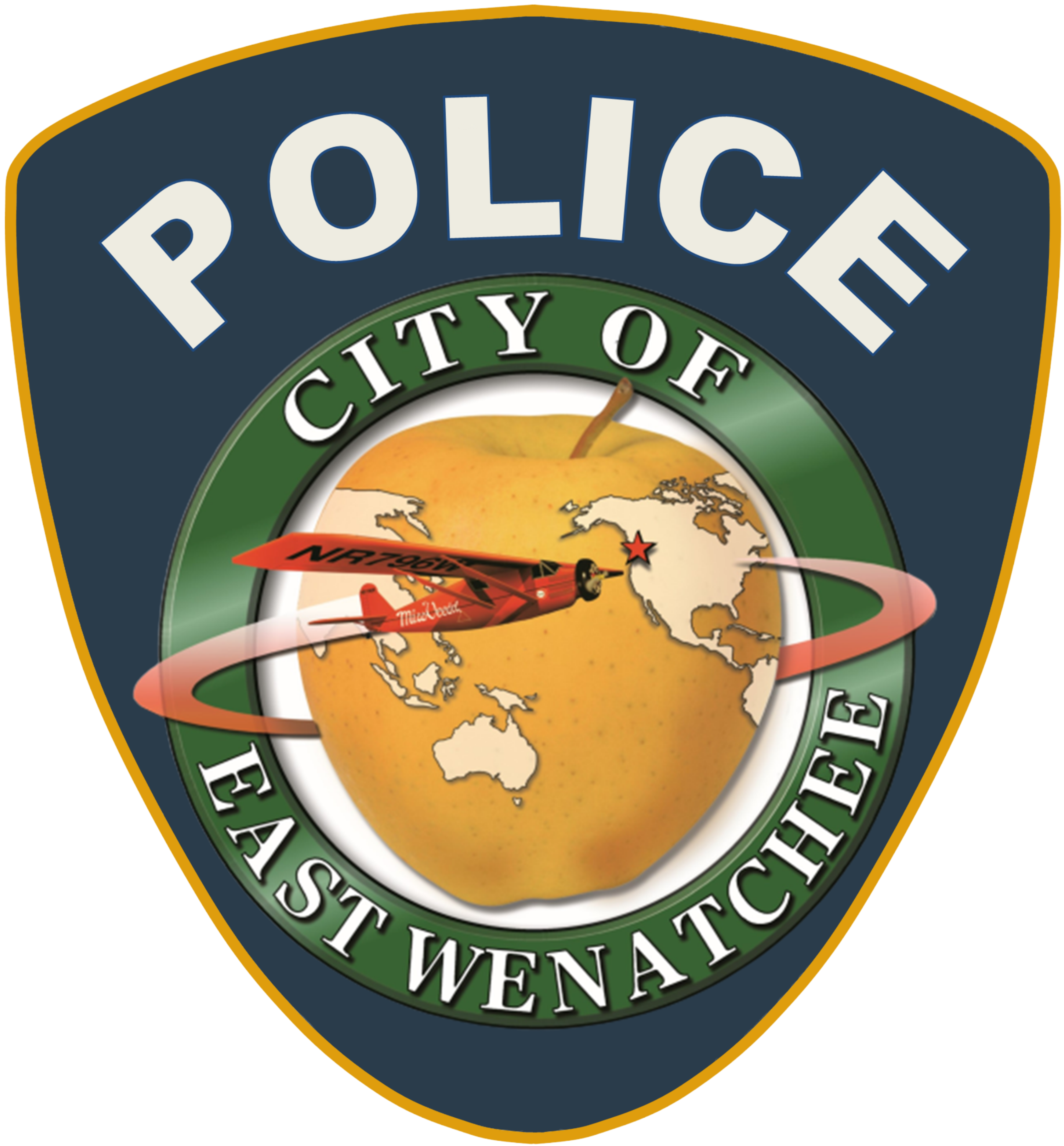 East Wenatchee's Logo in the middle of a dark blue police badge, POLICE written above it in white