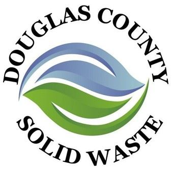 Douglas County Solid Waste written around blue and green artistic leafy swooshes.